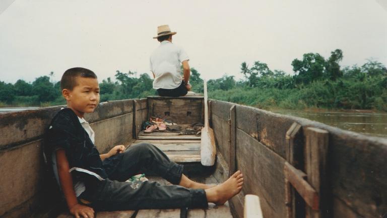 thailand boy in boat
